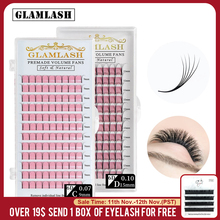 GLAMLASH 2D 3D 4D 5D 6D Long Stem False Lashes Premade Russian Volume Fans Faux Mink Premade Eyelash Extensions Makeup Cilios