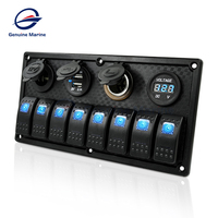 Voltmeter Dual USB LED Light 8 Gang Waterproof Marine Switch Panel