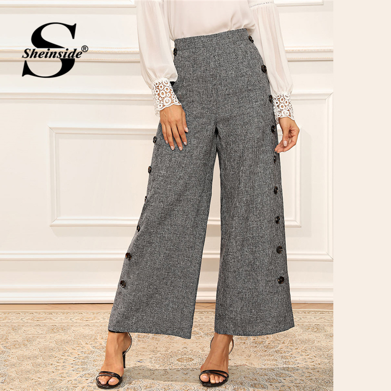 Sheinside Elegant Button Detail Wide Leg Pants Women 2019 Autumn Grey Minimalist Pants Office Ladies Workwear Trousers