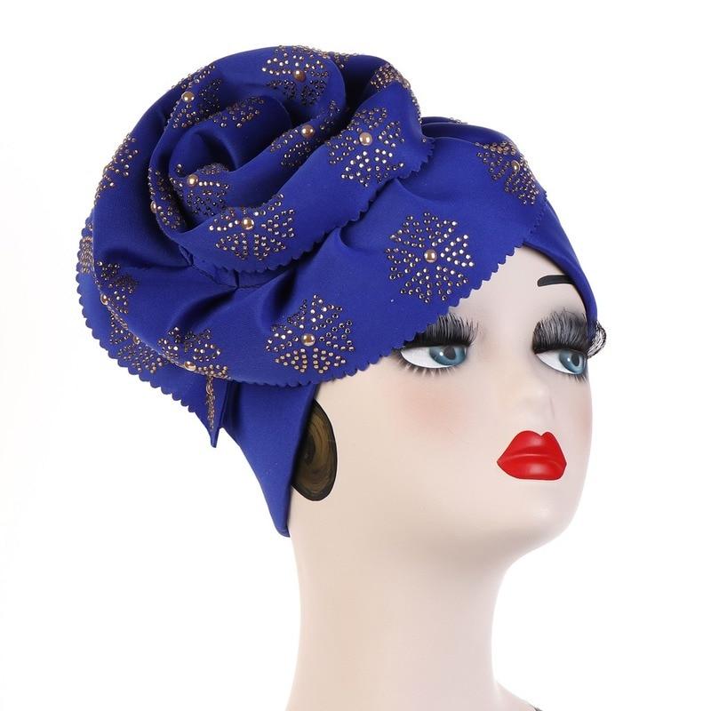 Image 2 - Helisopus Muslim Big Flowers Turban Women Shiny Glitter Oversized  Flower Hijab Bandana Head Cover Beanie Chemo Caps AccessoriesWomens  Hair Accessories