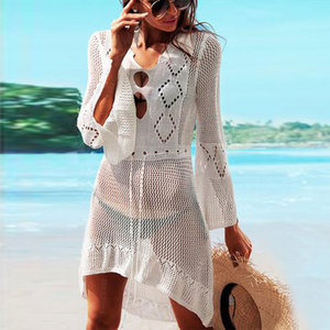 Image 2 - 2020 Summer Women Beachwear Sexy White Crochet Tunic Beach Wrap Dress Woman Swimwear Swimsuit Cover ups Bikini Cover Up #Q719