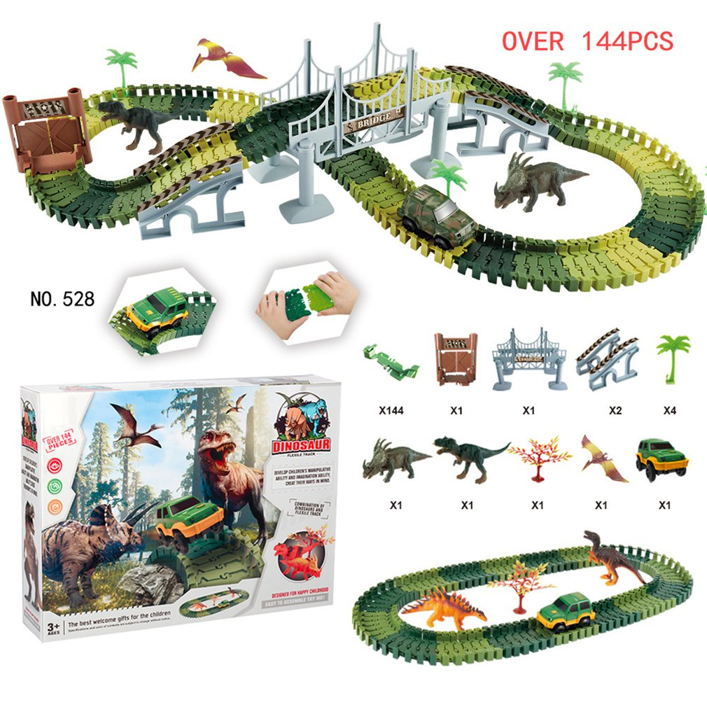 Creative Boy Dinosaur Rail Car Toy Assembled Double-Layer Puzzle Military Lighting Track Toy Exquisite Gift