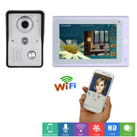 7 Inch Wireless WiFi Smart IP Video Door Phone Intercom System with 1x1200TVL Wired Doorbell Camera,Support Remote unlock