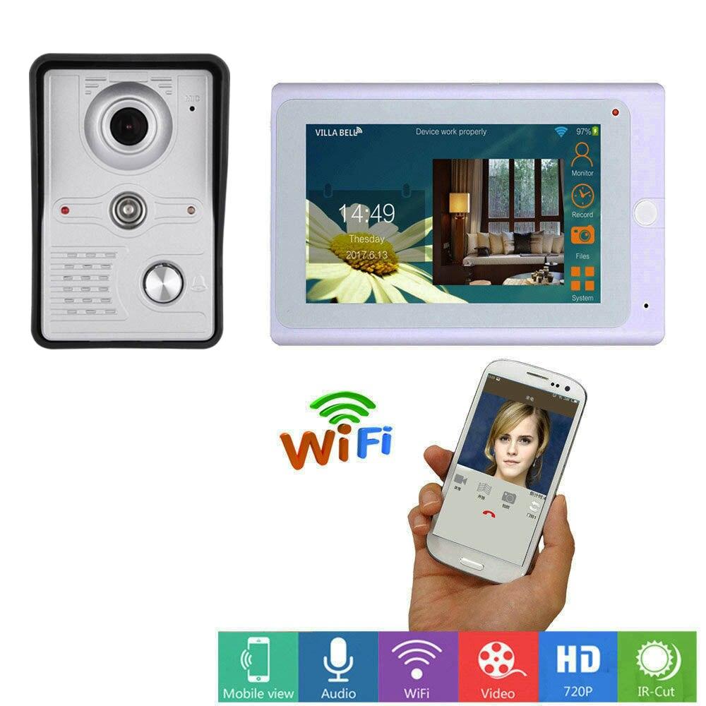 Güvenlik ve Koruma'ten Video Interkom'de 7 inç kablosuz WiFi akıllı IP görüntülü kapı telefonu interkom sistemi ile 1x1200TVL kablolu kapı zili kamera  destek uzaktan kilidini title=