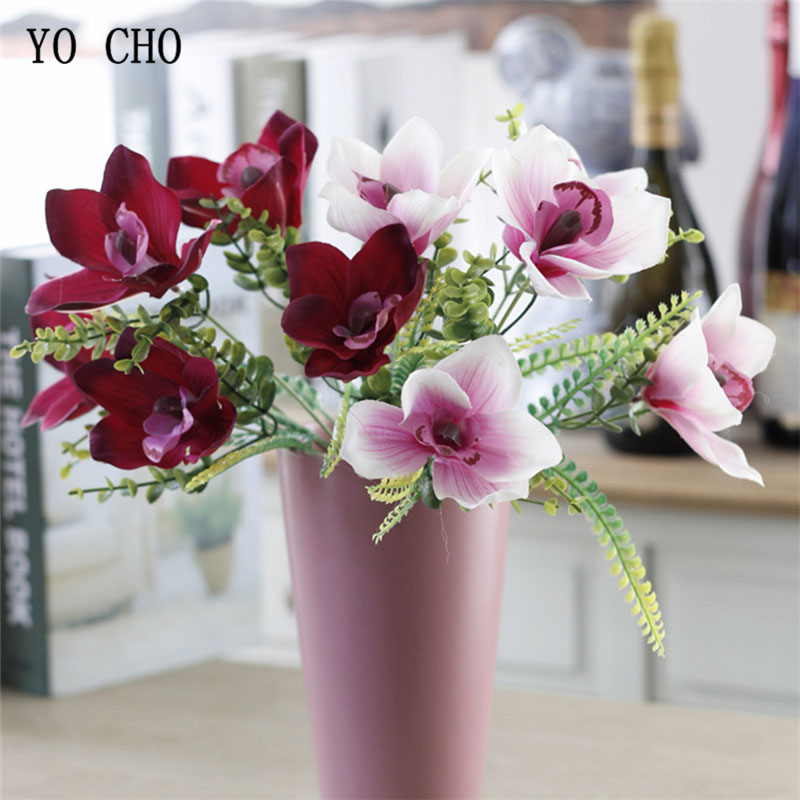 YO CHO 1 Bunch Artificial Orchid Flower 5 Heads DIY Silk Flowers For Party Wedding Table Home Vase Wall Decorative Craft Flowers