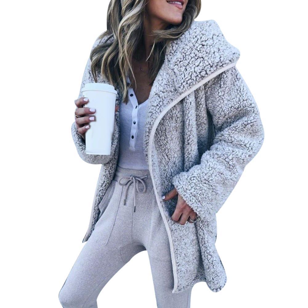New Women Long Sleeve Turn-Down Collar Outwear Jacket Wool Blend Coat Winter Women Solid Color Thick Fleece Lapel Coat Outwear