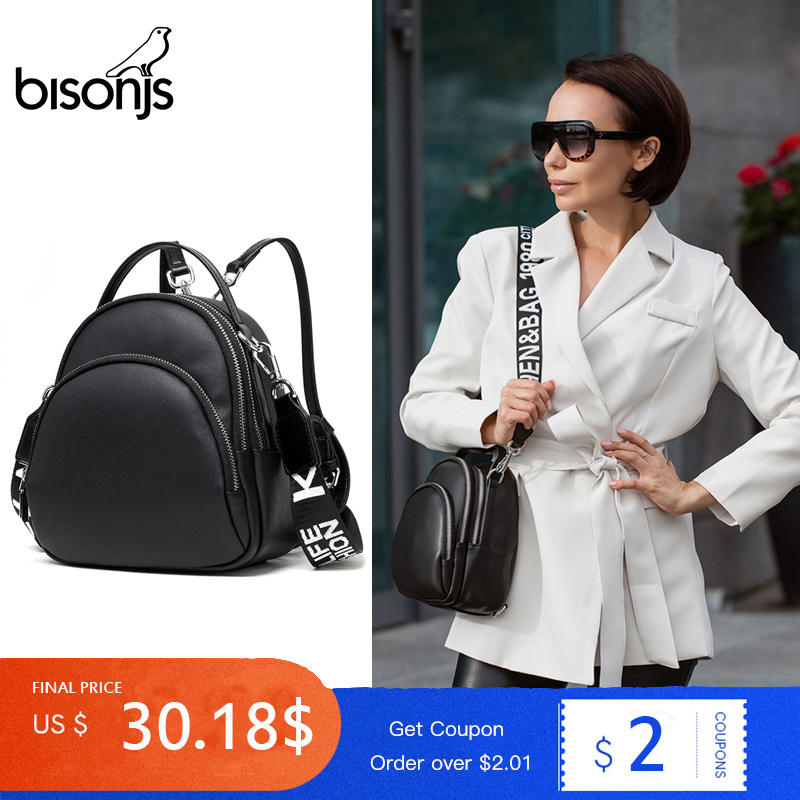 BISONJS Women Multifunction Backpack Womens' Pouch Leather Ladies Shoulder Bags For Girls Small Backpack Mochila Feminina B1553