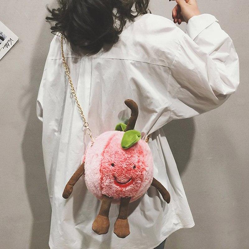Women Fashion Bag Cute Concise Peach Shape Chain Pink Girls Bag Plush Crossbody Shoulder  Women's Handbag Newp