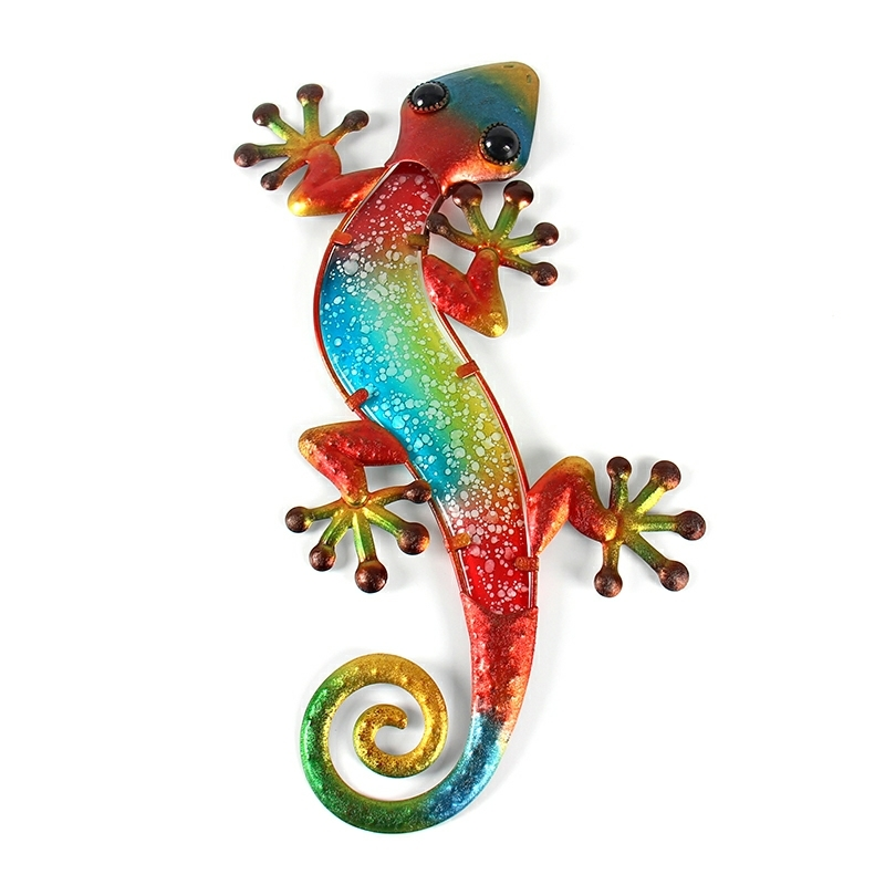 Metal Gecko Wall Decor With Glass For Home Garden Decoration And Miniatures Garden Statues Outdoor Fairy Garden Ornaments Fairy