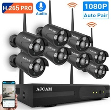 AJCAM H.265+ Security Camera System,8CH Full HD 1080P Wireless CCTV Camera System 2.0MP Waterproof Wireless Security Cameras