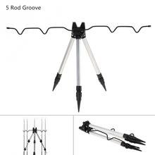 Aluminum Alloy Telescopic 5 Groove Fishing Rod Holder Collapsible Tripod Stand Sea Fishing Pole Bracket
