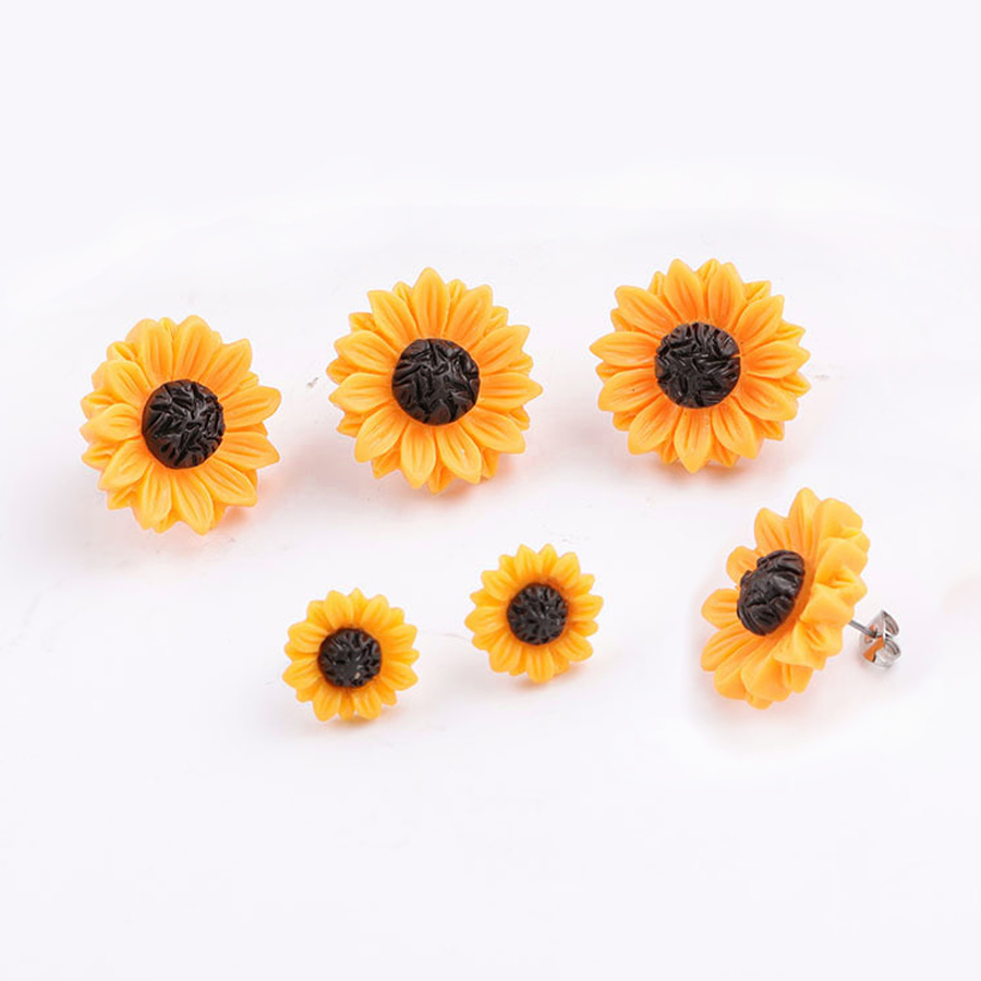 Sunflower Earrings Stud Stainless Steel Resin Yellow Daisy Sun Flower Jewelry For Women Trendy Cute Fashion Gift 1 Pair