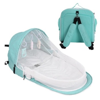 3Pcs Portable Bed Foldable Baby Bed Travel Sun Protection Mosquito Net Breathable Soft Infant Folding Sleeping Basket With Toys - Green Backpack, Russian Federation