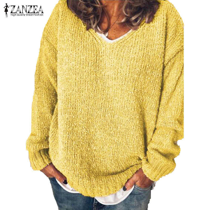 Autumn Long Sleeve Sweater ZANZEA Women V Neck Solid Knitted Blusas Loose Pullover Female Jumper Casual Basic Sweaters Knitwear