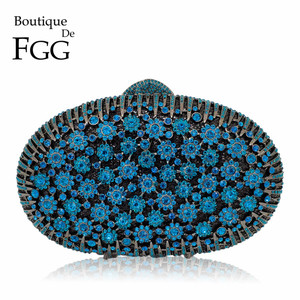 Image 1 - Boutique De FGG Pfau Blau Luxus Handtaschen Frauen Kristall Kupplung Blume Abend Taschen Hochzeit Floral Handtaschen Braut Party Geldbörse
