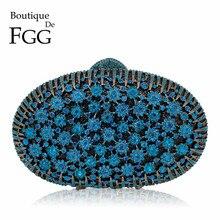بوتيك دي FGG الطاووس الأزرق حقيبة يد فاخرة المرأة ماسك من الكريستال زهرة مساء حقائب الزفاف الأزهار حقائب الزفاف حفلة الزفاف المحفظة
