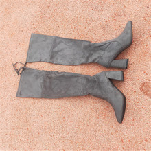 big size over knee women womans sexy shoes Overknee woman Long Elastic Black High boots