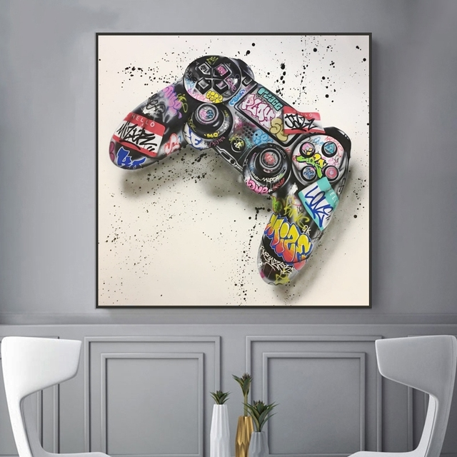 Graffiti Art Gamepad Canvas Art Posters and Print Abstract Game Handle Canvas Paintings on The Wall for Kid's Room Decor Picture 3