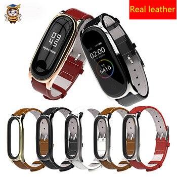 For Xiaomi Mi band 5 4 3 Real Leather Watch Band Strap smart Wristband bracelet Removable Wrist high quality Original Mi 5 Strap