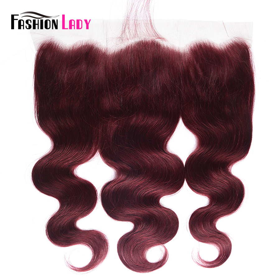 FASHION LADY Pre-Colored Human Hair Lace Frontal Closure 13x4 Lace Closure Body Wave Ear To Ear Lace Closure 99J Remy Hair