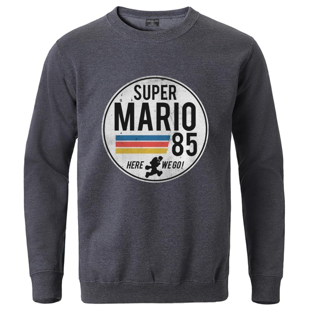 Super Mario 85 Hoodies Male Fleece Sweatshirts 2020 Autumn Winter Hip Hop Pullover Long Sleeve Tracksuits Sportswear Workout Top