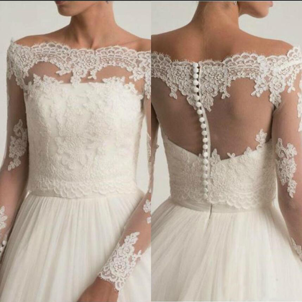 Off The Shoulder Wedding Jackets Lace Appliques Bridal Boleros Wrap Top Long Sleeve Customized Bridal Jacket