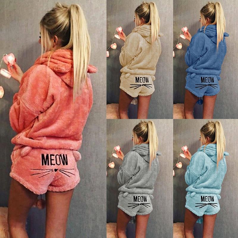Two Piece Women Coral Velvet Suit 2019 New Arrival Autumn Winter Pajamas Warm Sleepwear Cute Cat Meow Pattern Shorts Hoodies Set