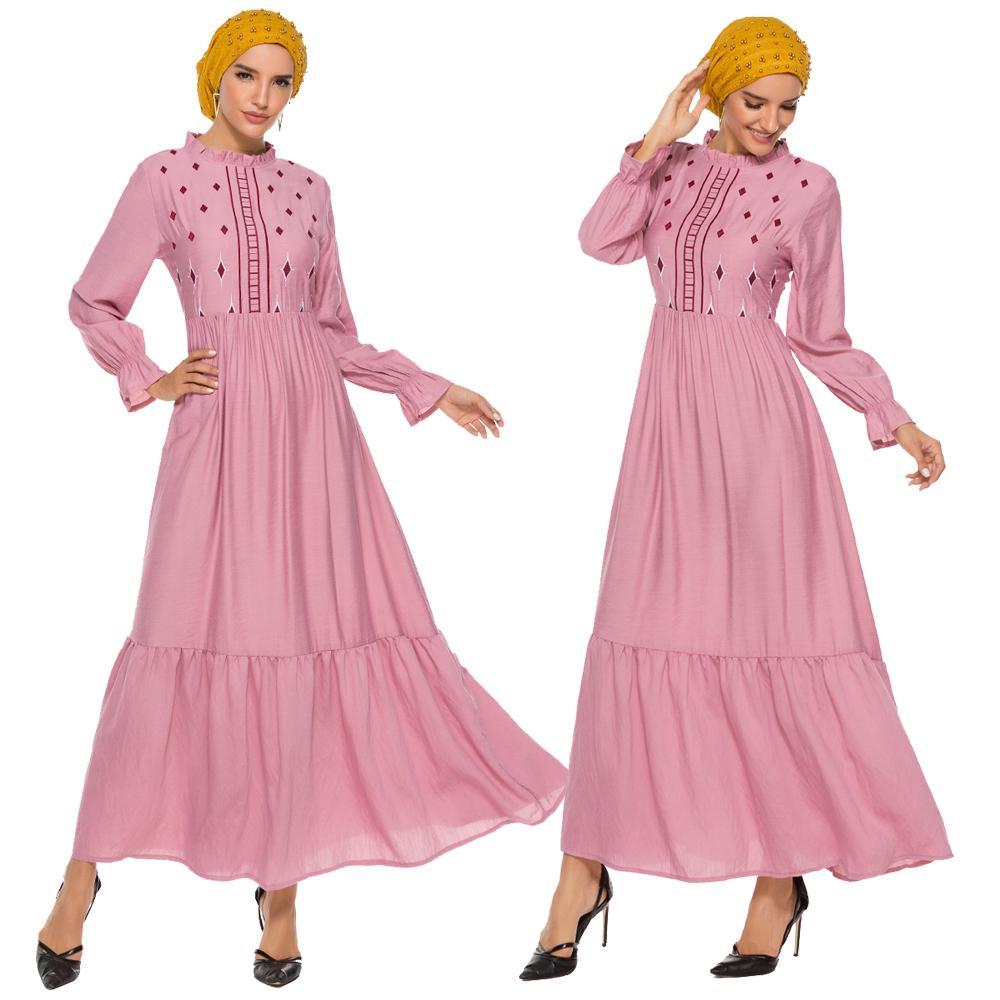 Muslim Women Long Sleeve Dress Ruffle Abaya Pleated Kaftan Arab Islamic Party Gown Cotton Dress Draped Design Loose Arab Dress
