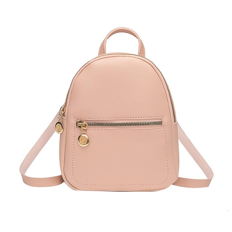 Mini Backpack Women PU Leather Shoulder Bag For Teenage Girls Kids Multi-Function Small Ladies School Backpack