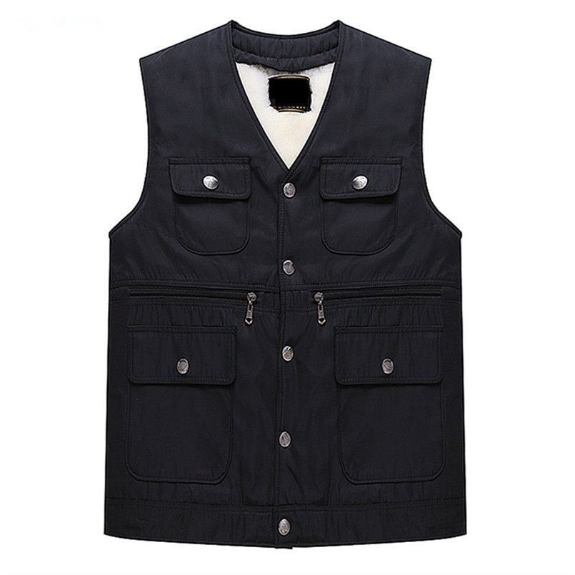 100% Mens Black Pure Wool Vest Thick & Warm Sheepskin Vest Sleeveless Autumn and Winter Men's Casual Jacket Coat Chaleco Hombre