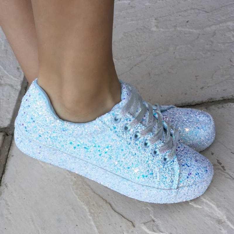 2020 İlkbahar sonbahar kadınlar sneaker siyah platform ayakkabılar kadın moda rahat nefes kristal Bling Lace Up spor ayakkabılar 35-43