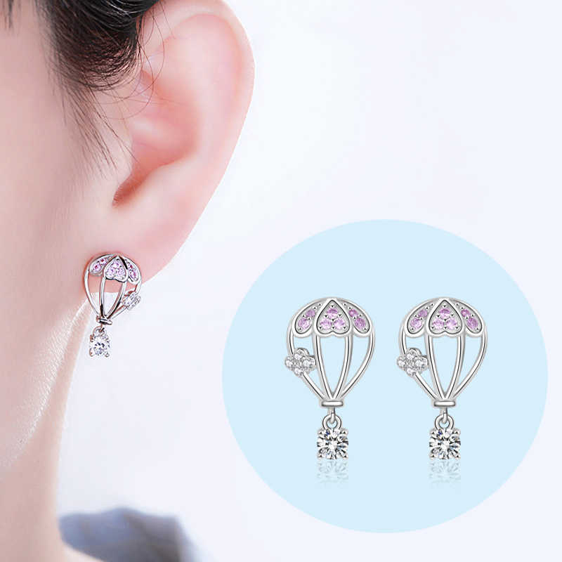 Strollgirl 925 Sterling Silver Hollow earrings Cute hot air balloon Stud Earrings with pink CZ for Women Fashion Jewelry gifts