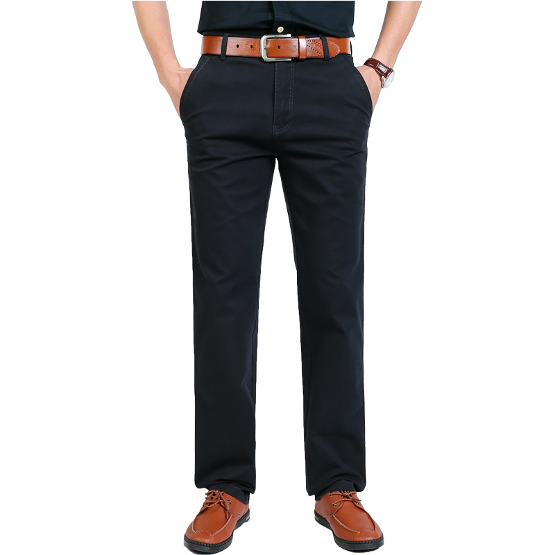 2019 New Style Sportsman Business Casual Pants Straight-leg Pants Medium Waist Pure Cotton Summer Men's Korean-style Trend Sprin