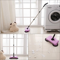 1 Set of Purple Cleaning Broom mop Spin Hand Push Sweeper without Electricity for Home Office