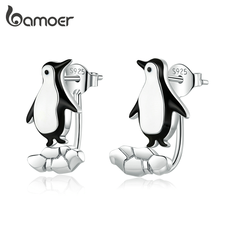 Bamoer Authentic 925 Sterling Silver Penguin On Cracked Ice Stud Earrings For Women Original Designer Fine Jewelry BSE348