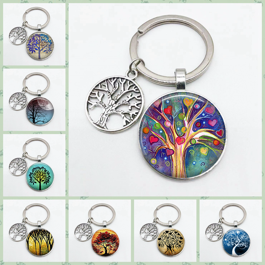 Super Art Tree Of Life Keychain Tree Pattern Round Glass Key Chain Tree Of Life Pendant Key Chain Must-have Key Chain