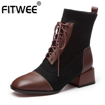 FITWEE Women Genuine Leather Ankle Boots Comfortable Soft Witer Warm Shoes Women Office Ladies Knitting Botas Size 34-39
