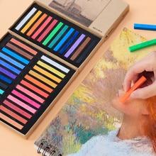 Marie crayons macios pastel 12/24/36/48 cores, conjunto de pintura de arte de giz, cor, crayon escova papelaria para alunos