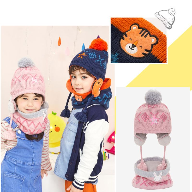 Toddler Kids Winter Knit Animal Padded Earflap Beanie Cap Collar Scarf 2Pcs Set Earflap Hat Tiger Rabbit Embroidery