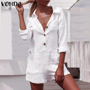 Sexy Party Playsuits Summer Shorts Rompers Womens Jumpsuits VONDA 2021 Casual Wide Leg Pants Ladies Sexy Overalls Plus Size xuru women cold shoulder wide leg pants jumpsuits female overalls sexy party jumpsuit women s loose plus size jumpsuits