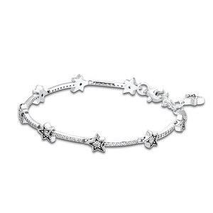 Image 3 - Celestial Stars Bracelet Clear CZ 925 Sterling Silver Bracelets Jewelry Female Fashion Chain Bracelets for Women Winter Jewelry