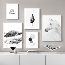 Black And White Mountain Landscape Canvas Painting Poster Horse Flower Nordic Wall Paintings For Bedrooms