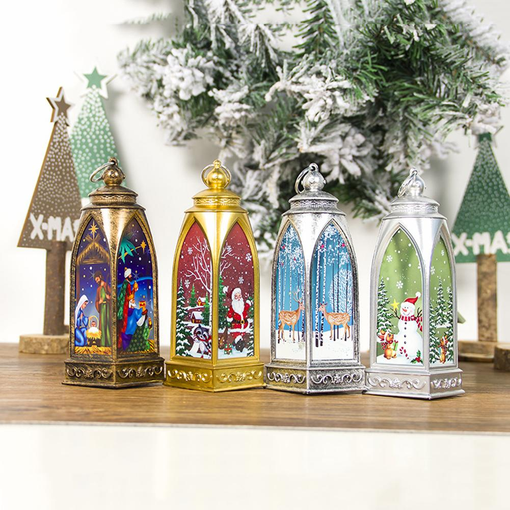 Xmas Lantern LED Candle Tealight Santa Deer Snowman Lamp Creative Warm White Coloured Drawing For Ornament Tree Decor