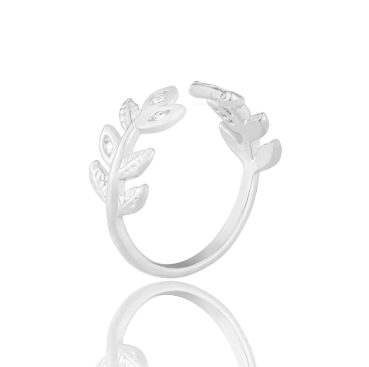 Flower Crystal Leaves Design Women Ring Fashion Finger Ring  Jewelry Gift  AADUOXJZ