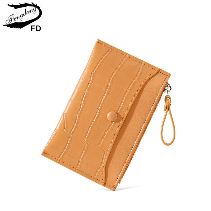 Fengdong fashion small coin purse female short PU leather wallet mini card holder ultra thin zipper wallet yellow pink money bag