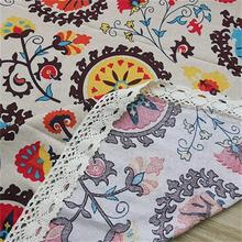 33 Classical Cotton Linen Tablecloths Rectangle Sunflower Printing Table Cloth with Lace Dust proof Table Covers for Wedding Home