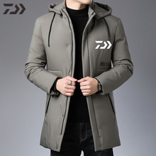 Зимняя мужская куртка для рыбалки Daiwa, водонепроницаемая, термальная одежда для рыбы, полиэстер, толстая, водонепроницаемая, для рыбалки, Джерси, съемная шапка, одежда