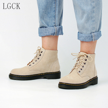 Plus Size 34-43 Genuine Leather Women Shoes Punk Autumn And Winter Martin Boots Lace-Up Fashion Casual Ankle Boot High Quality цены онлайн