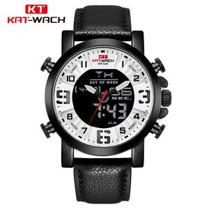 Часы KT Man 2020 подарки для мужчин, аналоговые цифровые Мужские часы с кожаным ремешком, повседневные водонепроницаемые часы с хронографом, мод...