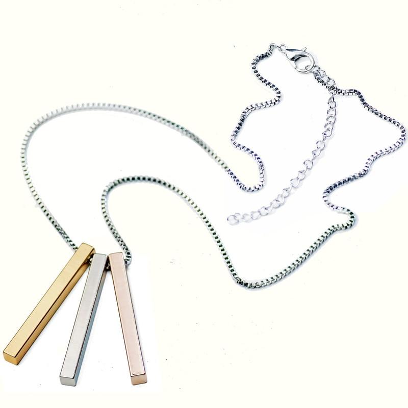 立方列カスタム彫刻ペンダントネックレスステンレス鋼 3 立方体コンビネーションネックレスファッションポップカップル女性ネックレス
